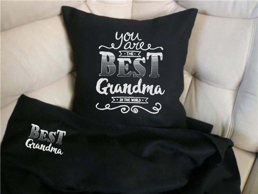 """Набор: подушка + плед """"You are best grandma"""" 08 цвет на выбор"""