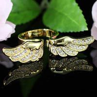 Кольцо Angel Wing Gold Plate Ring w/ Swarovski Crystal SR096 - 16й размер