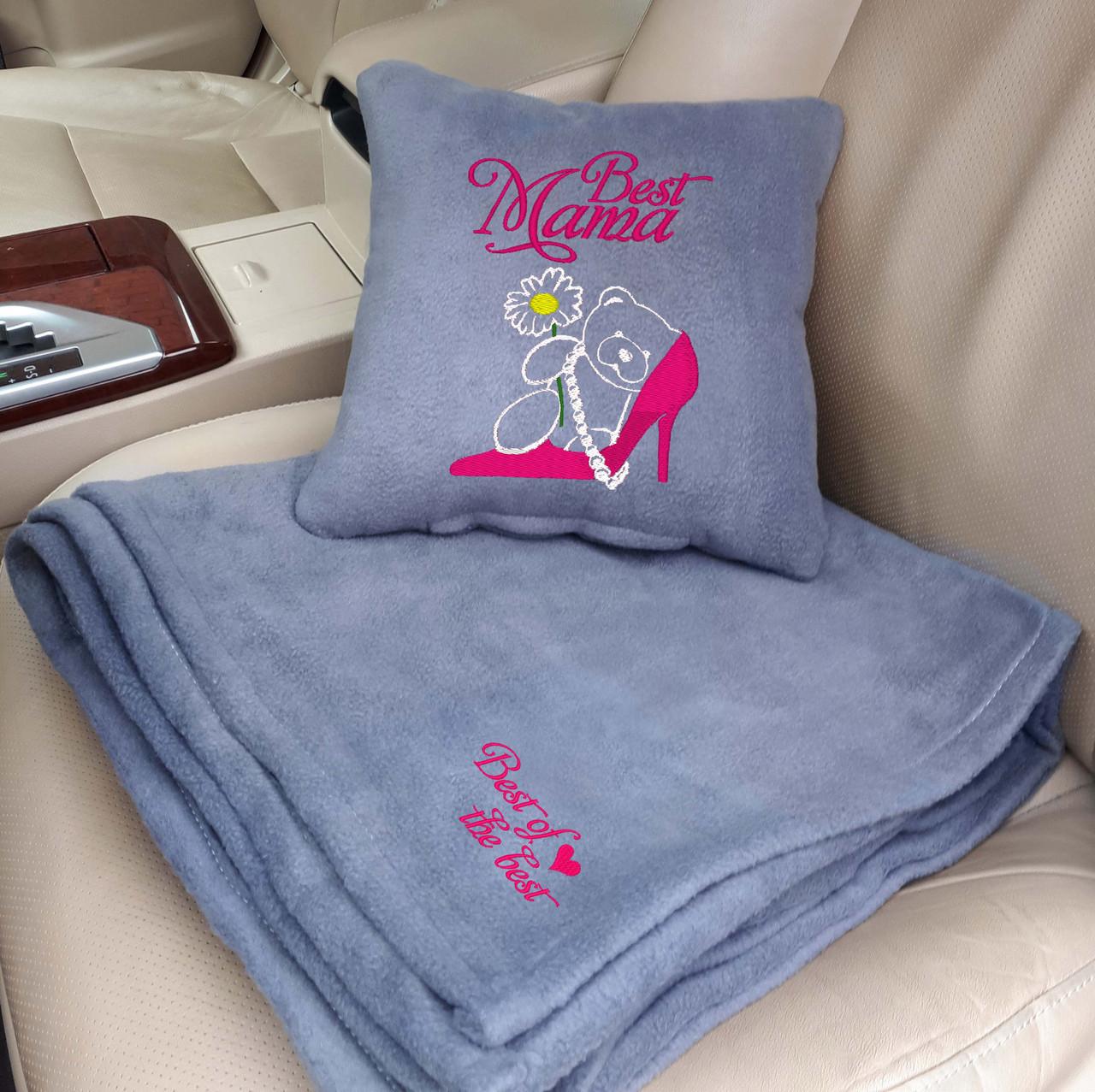 """Подарочный набор на 8 Марта: подушка + плед """"Best Mama"""" 11 цвет на выбор"""
