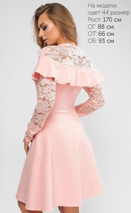 8436160498e851a Красивое платье-трапеция цвета пудры, с воланом и гипюровыми рукавами, ...