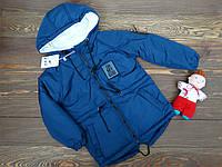 """Стильная куртка-парка """"Oh My God"""" для мальчика синяя р.110-128, фото 1"""