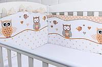 """Защита в детскую кроватку """"Совы"""" коричневого цвета №209"""