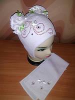 Шапка и шарф для девочки весенняя, фото 1