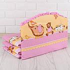 Бортики-защита в детскую кроватку ASIK Слоник с зонтиком розового цвета (1-200), фото 2