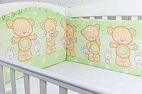 """Бортики-защита в детскую кроватку """"Мишка с зайчиком"""" салатового цвета, № 185"""