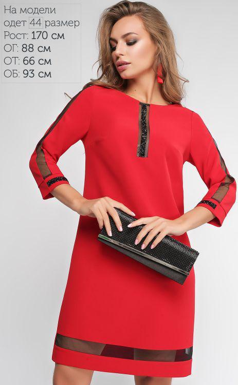248bacdf3b7 Стильное красное платье прямого кроя со стразами и вставками сеточки.  Размеры 50-56