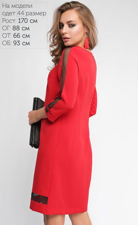 9463b1d2efd Размеры  44-48 · Красивое красное платье прямого кроя со стразами и  вставками сеточки.