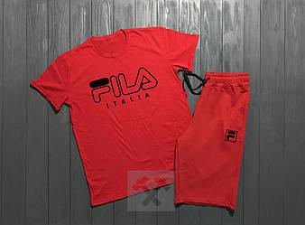 Мужской комплект футболка + шорты Fila красного цвета (люкс копия)