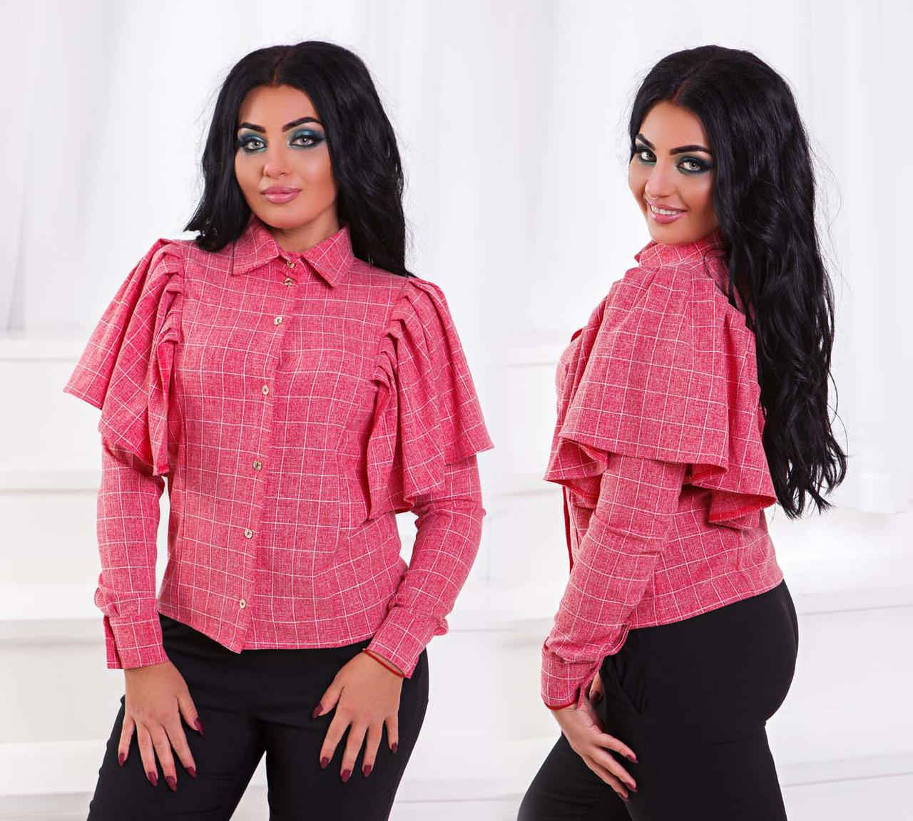"""Женская стильная рубашка в больших размерах 213 """"Коттон Клетка Плечи Воланы"""""""