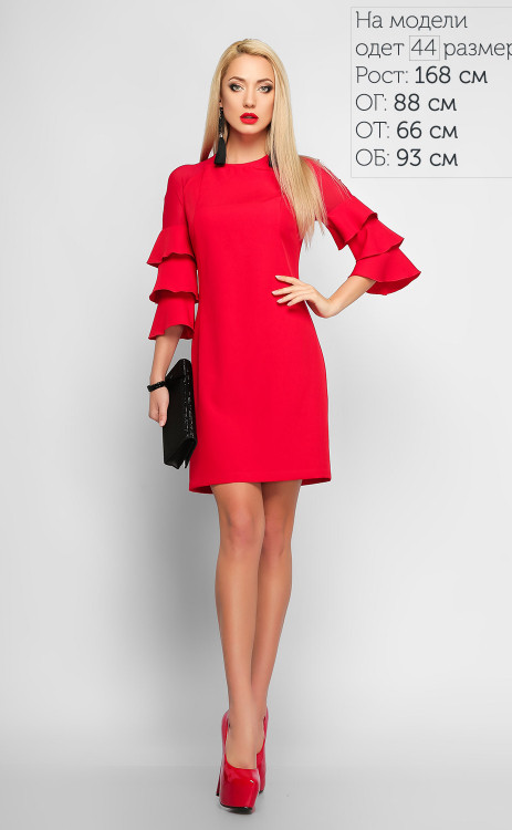 6876ea53765 Стильное красное платье-трапеция с рукавами воланами - Интернет-магазин  одежды
