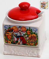 Сахарница керамическая 12.5см с ложкой Украинский сувенир BonaDi DU282-W