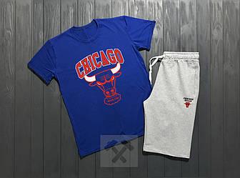 Мужской комплект футболка + шорты Chicago синего и серого цвета