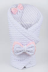 Плед-конверт белого цвета с розовым бантом из плюша (minky, полосы)  80*80 см