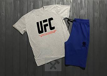 Мужской комплект футболка + шорты UFC синего и серого цвета (люкс копия)