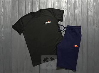 Мужской комплект футболка + шорты ellesse черного и синего цвета (люкс копия)
