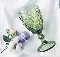 """Бокалы из цветного стекла """" Кубок"""" изумруд оливковый. Цветные бокалы, винтажные бокалы для вина , фото 1"""