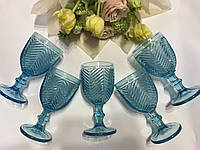 """Бокалы из цветного стекла """" Кубок"""" изумруд голубой. Цветные бокалы, винтажные бокалы для вина , фото 1"""