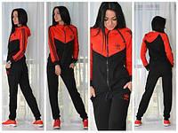 Женский спортивный костюм Adidas красного и черного цвета