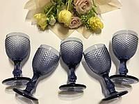 """Бокалы из цветного стекла """" Кубок"""" аметист сине-фиолетовый. Цветные бокалы, винтажные бокалы для вина"""