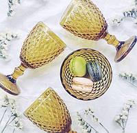 """Бокалы из цветного стекла """" Кубок"""" янтарный желтый. Цветные бокалы, винтажные бокалы для вина , фото 1"""