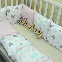 Защитные бортики из сатина для детской кроватки -10