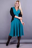 Риджина. Оригинальное платье больших размеров для женщин. Бирюза.