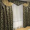 """Шоколадный комплект штор с ламбрекеном из жаккардовой ткани """"Барокко"""", люрекс"""