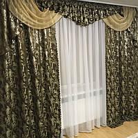 """Шоколадный комплект штор с ламбрекеном из жаккардовой ткани """"Барокко"""", люрекс, фото 1"""