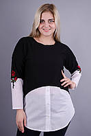 Аника. Красивая блуза больших размеров для женщин. Белый.