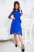 Изящное платье Dorofeya с актуальным поясом в тон и красивое перфорацией по низу платья (15 цветов) (141)377