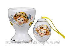 """Подставка для яйца с солонкой """"Ангелочек"""" фарфоровая, желтая Lefard пасхальная коллекция"""