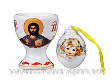 """Подставка для яйца с солонкой """"Христос Воскрес"""" фарфоровая, красная Lefard пасхальная коллекция"""