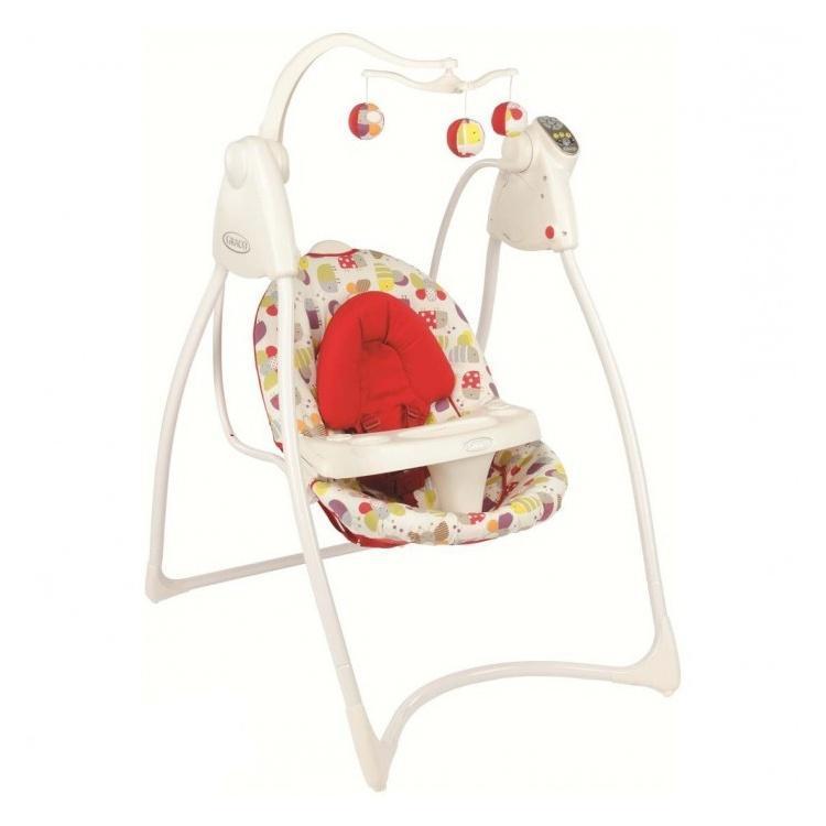 Кресло-качалка LOVIN'HUG Graco (с подключением к электросети), белый с красным