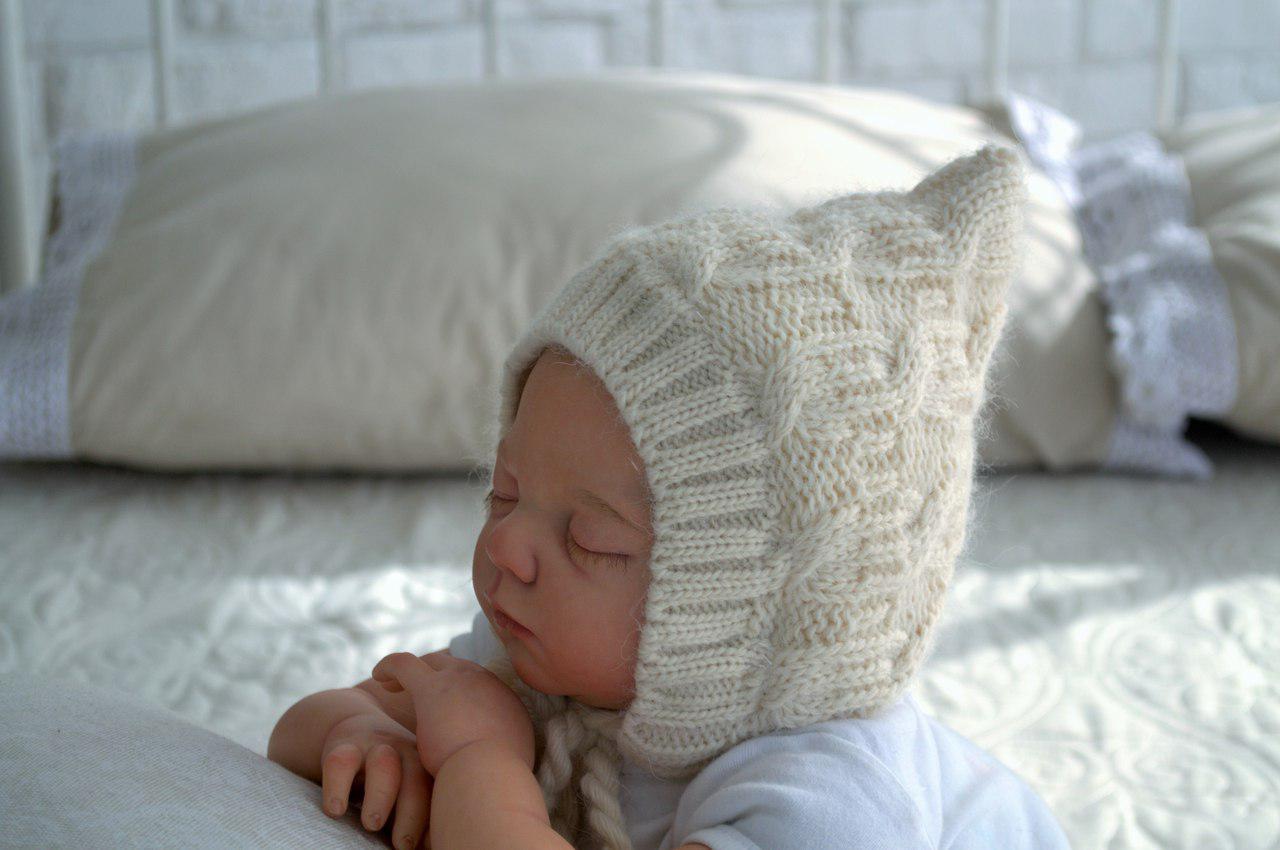 вязаная зимняя шапка для новорожденных бежевая 0 3 мес Magbaby