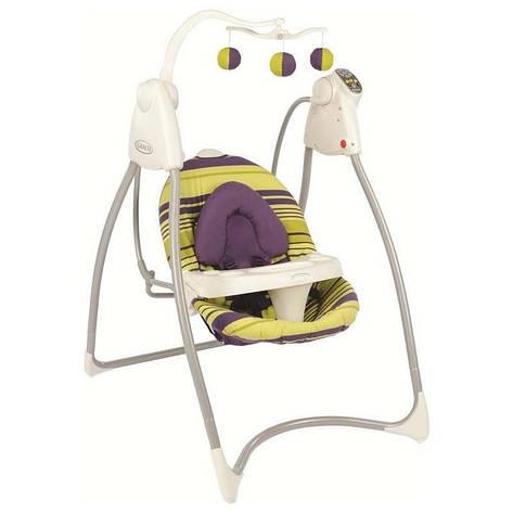 Кресло-качалка LOVIN'HUG Graco (с подключением к электросети), салатовый с фиолетовым, фото 2
