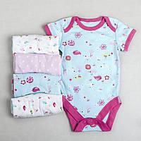 """Бодики для новорожденных, набор бодиков для девочки Marks&Spencer """"цветочный бум"""", размер 74 см"""