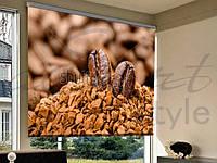Рулонные шторы на проем кофейные зерна