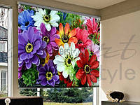 Рулонные фотошторы на проем цветы