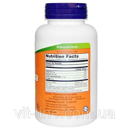 Now Foods, Certified Organic, спирулина, 1,000 мг, 120 таблеток, фото 2