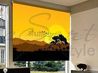 Рулонні фотошторы на отвір захід сонця в пустелі