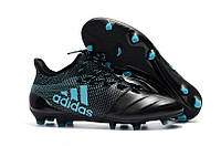 Бутсы Adidas X 17.1 Leather FG black, фото 1