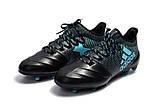 Бутсы Adidas X 17.1 Leather FG black, фото 3