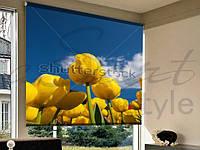 Рулонные шторы в проем желтые цветы