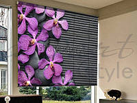 Рулонные шторы в проем цветы фиолетовые
