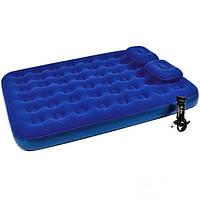 Матрас надувной велюровый двуспальный Bestway 67374 с насосом и подушками, синий, 203 х 152 х 22 см