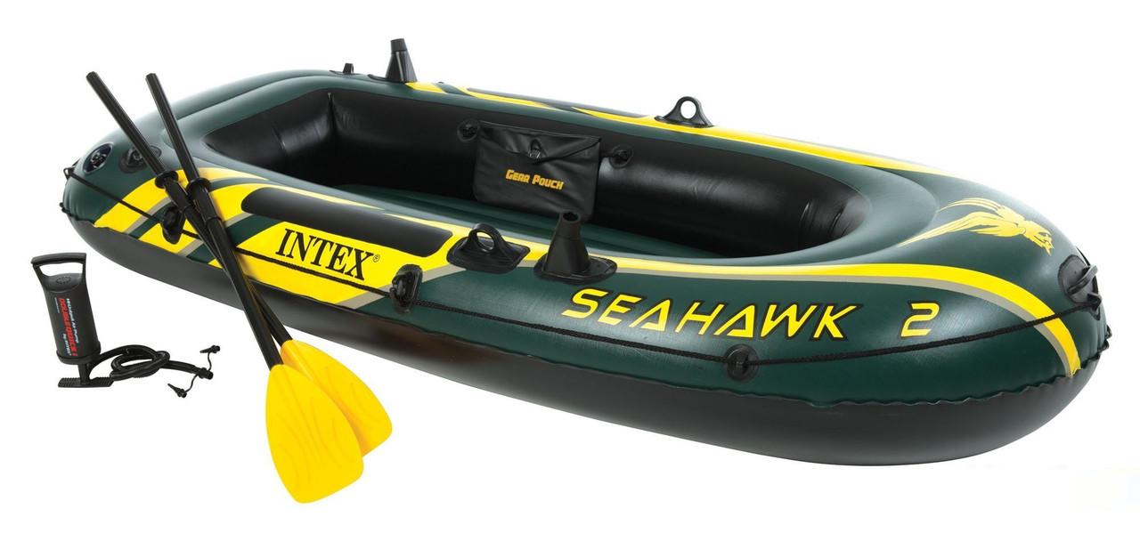 Двухместная надувная лодка Intex 68347 Seahawk 2 Set с веслами и насос