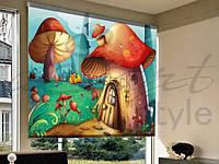 Рулонные шторы в проем в детскую грибной городок