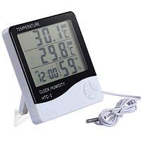 Измеритель температуры и влажности HTC-2,  часы, календарь, будильник,  LCD дисплей, домашняя метеостанция