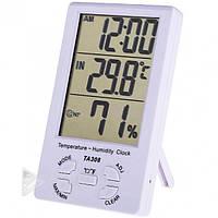 Комнатный измеритель температуры и влажности TA308, термометр, гигрометр, часы, домашняя метеостанция
