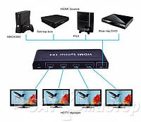 HDMI Spliter 1x4 ST-0104B, 1 HDMI 1.3 вход, четыре HDMI 1.3 выхода, 3D, CEC, глубина цвета 30bit, 36bit, Blue-Ray 24/50/60fs/HD-DVD/xvYCC, питание